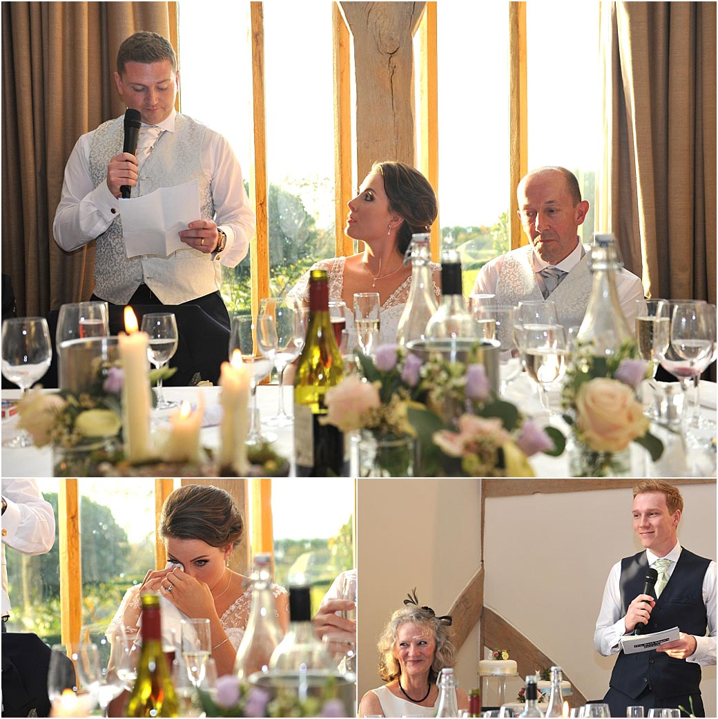 Entertaining wedding speeches in the Music Room at Surrey wedding venue Cain Manor full of sentiment, tears, smiles and laughter