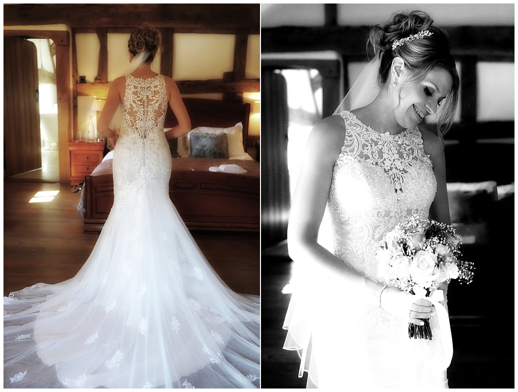 A beautiful Bride ready in her lovely wedding dress pictures taken at the at the popular and homely bijou Surrey wedding venue Cain Manor
