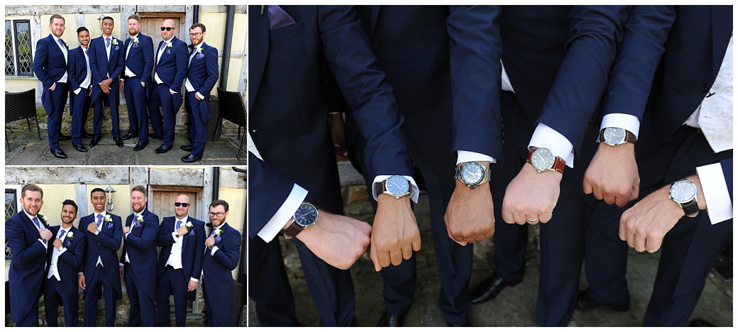 Smart Groom and gents captured at the bijou Surrey wedding venue Cain Manor all dressed up and showing off their special wedding watch gifts out on the patio