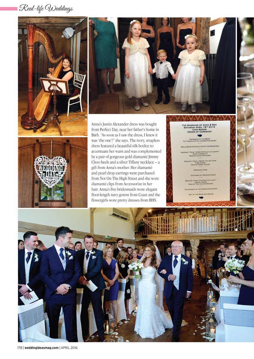 The beginning of the wedding ceremony captured here in the April 2016 edition of Wedding Ideas Magazine covering a wedding at the rustic Surrey wedding venue Cain Manor