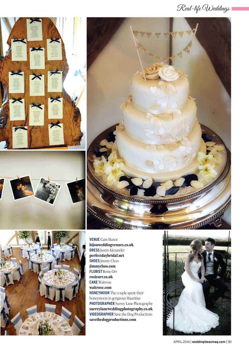 Wedding Ideas Magazine spread showing table settings and the wedding cake with a photo of the couple sitting outside the Surrey wedding venue Cain Manor in Churt Surrey