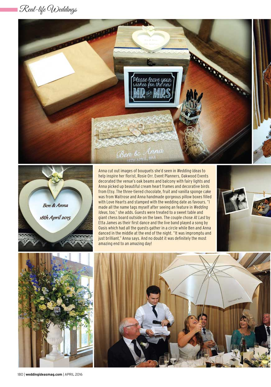 Capturing the wedding speeches and other wedding details such as the guests book as shown in  Wedding Ideas Magazine from Cain Manor in Churt village Surrey
