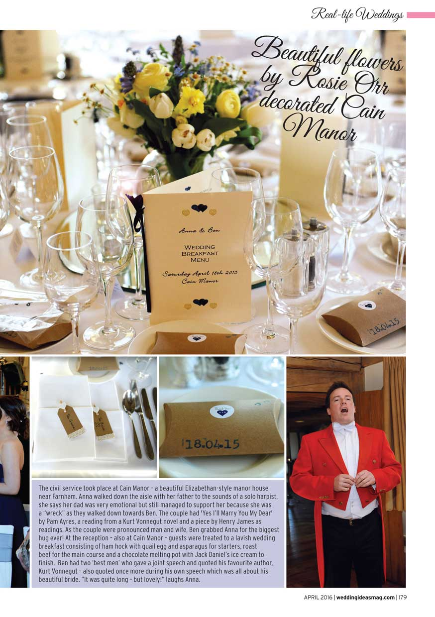 Wedding Ideas Magazine showing the Master of ceremonies at Cain Manor Surrey calling guests in for the wedding breakfast including details of the table decorations