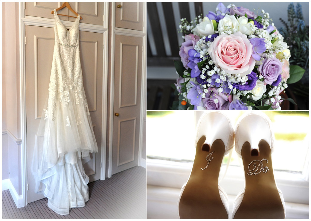 Beautiful wedding dress, shoes with I do message on the soles and lovely bridal bouquet captured at the homely Wedding venue Gorse Hill in Woking Surrey