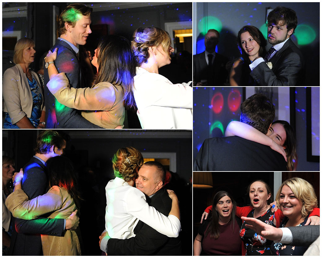 Wedding pictures of happy guests in The Boardroom at the relaxed and popular Surrey wedding venue Gorse Hill enjoying the dancing and night time celebrations