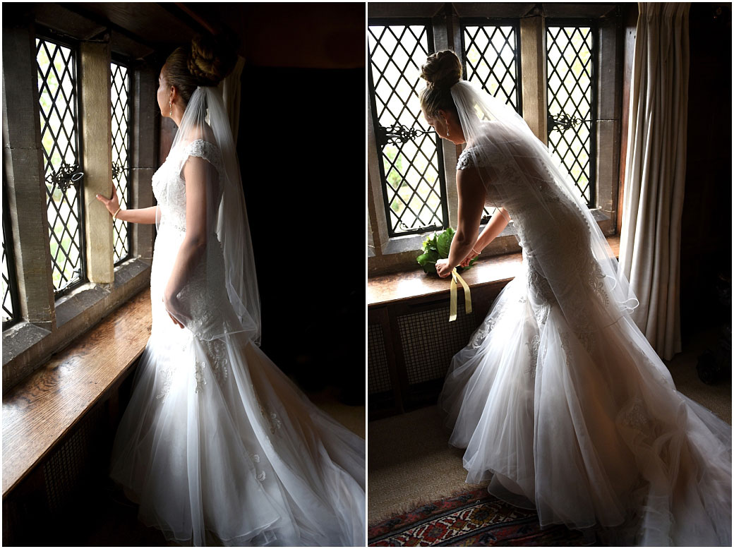 Two evocative pictures of a lovely Bride in her wedding dress as she looks out of the stone mullioned windows of the Nursery Suite at Surrey wedding venue Great Fosters in Egham