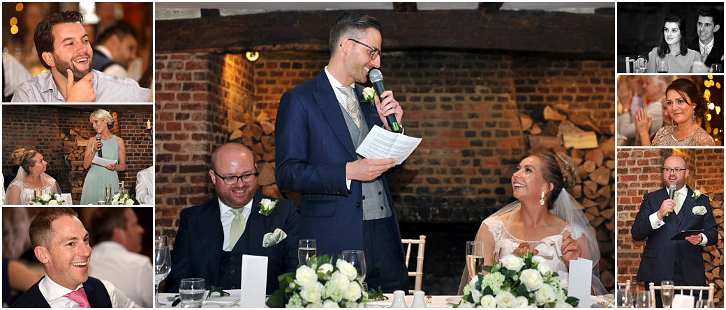 Groom, maid of honour and the best man entertain the wedding guest during their fun speeches captured at the fabulous hotel and event venue Great Fosters in Egham Surrey