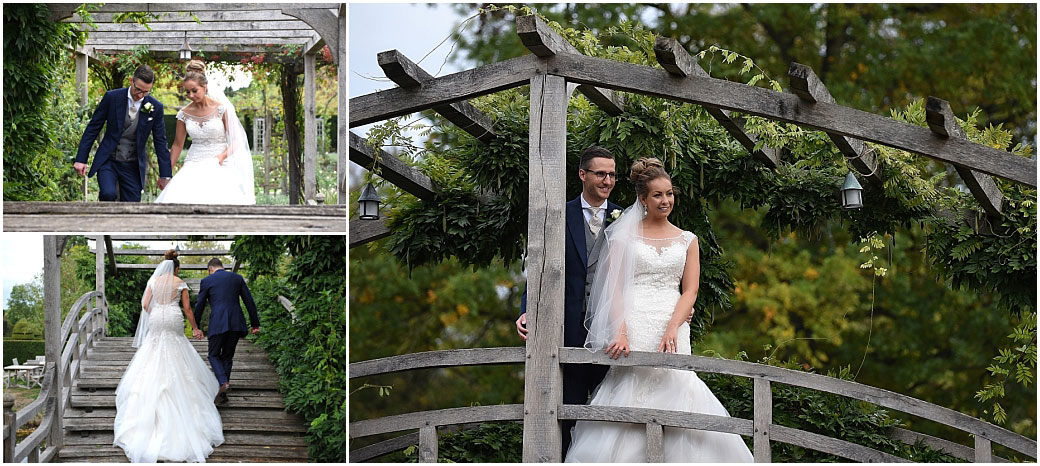 Bride and Groom at the beautifully scenic Surrey wedding venue Great Fosters captured in these romantic pictures taken on the charming wooden Japanese Bridge