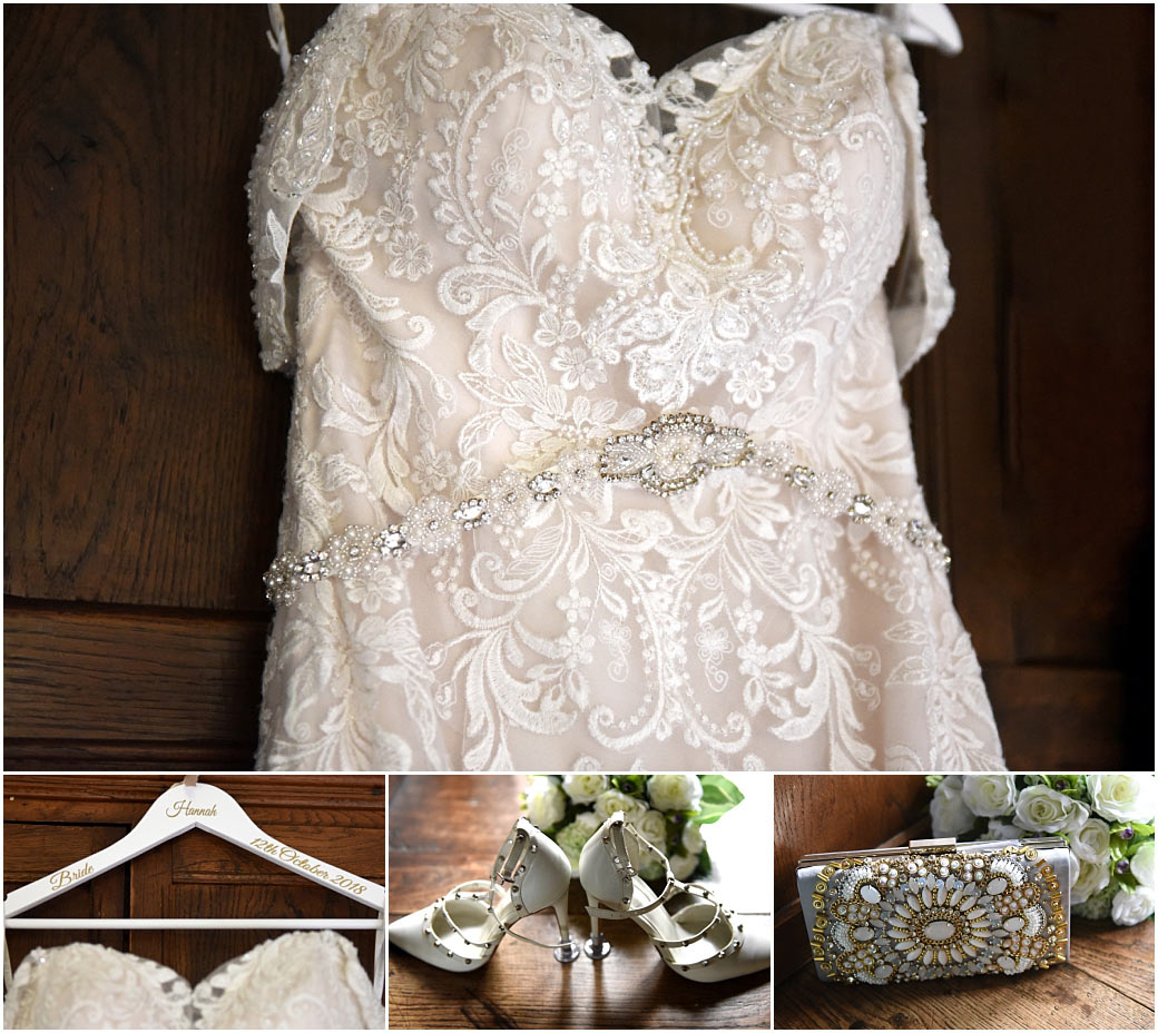 Glittering wedding dress, studded shoes and jewelled clutch bag on show at Surrey wedding venue Great Fosters Egham in the atmospheric Nursery Suite