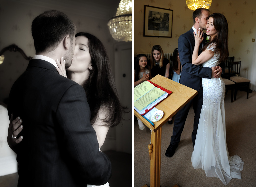 An embrace and a kiss captured in these wedding photos taken at the popular Surrey wedding venue Guildford Register Office in the pleasant Artington House