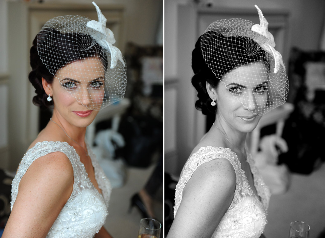 Stunning Bride looks the part in her beautiful wedding dress and fascinator in the bridal suite at Surrey wedding venue Nonsuch Mansion only minutes a way from her marriage