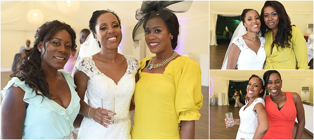 Happy and relaxed Bride captured at the lovely Surrey wedding venue Painshill Park in Cobham poses for photos with her close guests in the  Conservatory