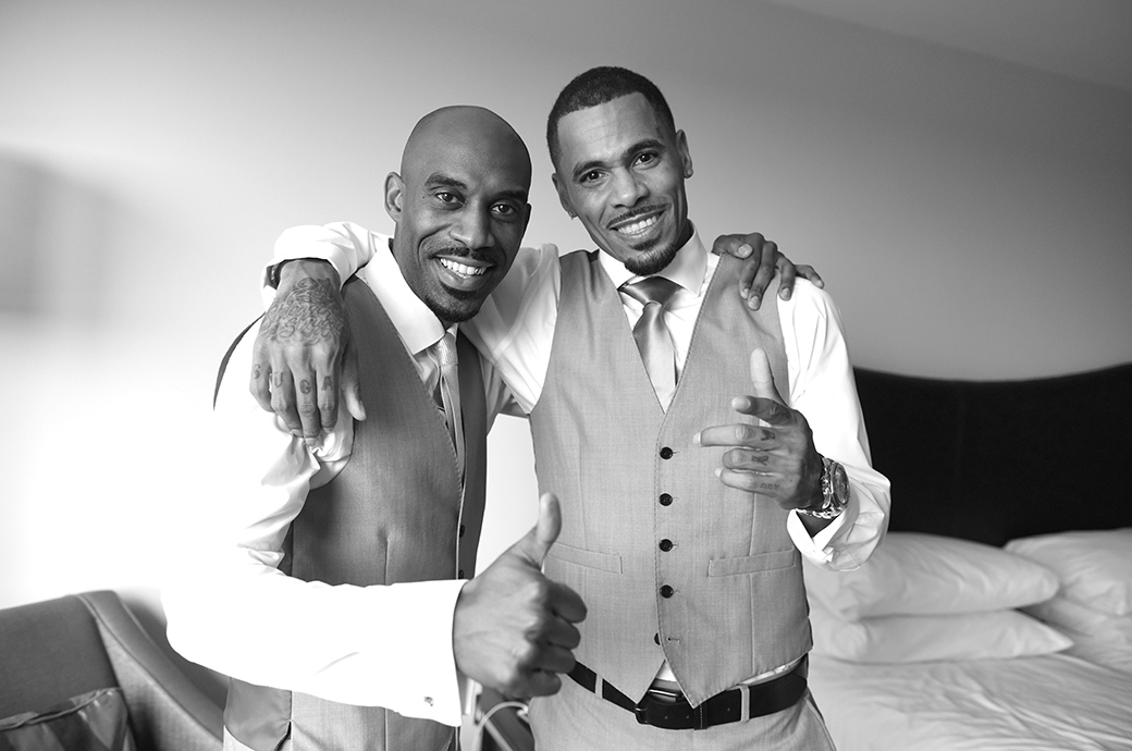 Happy Groom with his Best Man Harvey from So Solid Crew posing before leaving for the church wedding followed by a reception at Painshill Park in Cobham Surrey