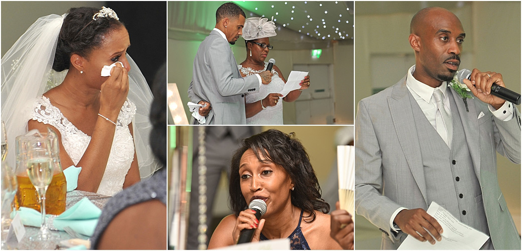 The groom's speech and other guest speakers bring out the Bride's emotions in The Conservatory at Surrey wedding venue Painshill Park in Cobham