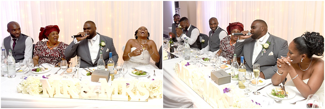 Hilarity captured on the top table in The Conservatory at Surrey wedding venue Painshill Park as the Groom is encouraged to sing in a particular style