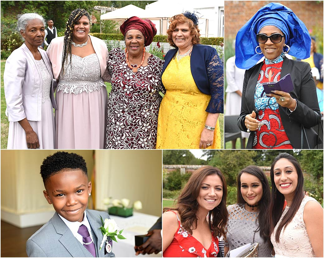 The Smiling faces of wedding guests captured in their colourful clothes as they enjoy themselves in the Walled Garden at the Painshill Park venue in Cobham Surrey