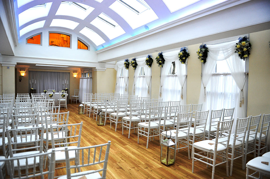 Wedding photograph of The Belvedere Suite at Surrey wedding venue Pembroke Lodge in Richmond Park dressed ready for the arrival of the guests