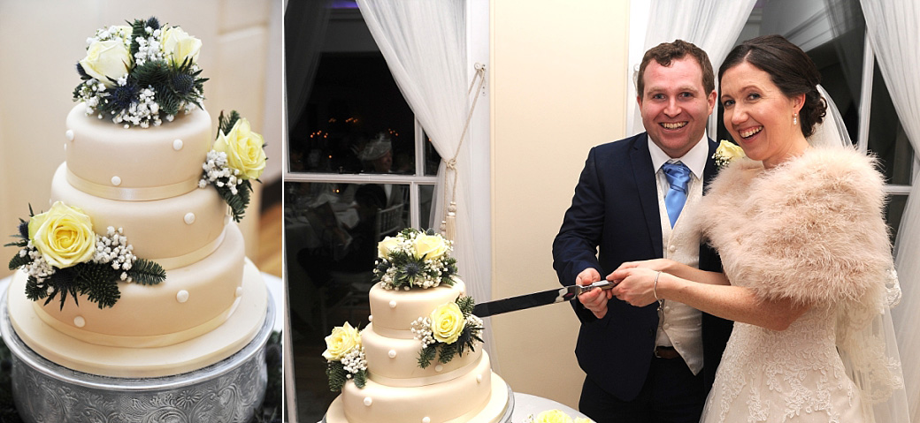 Relaxed and smiling Bride and groom cutting their wedding cake in The Belvedere Suite at the popular Richmond Park Surrey venue Pembroke Lodge