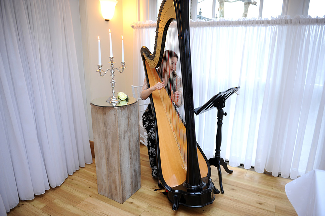 Elegant wedding picture of a musician at the lovely Surrey venue Pembroke Lodge playing a harp prior to a Belvedere Suite marriage ceremony
