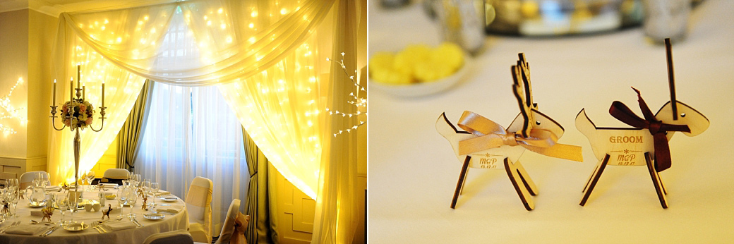 Bride and groom's festive reindeer place cards captured at Surrey wedding venue Wotton House in the atmospherically dressed Evelyn Suite