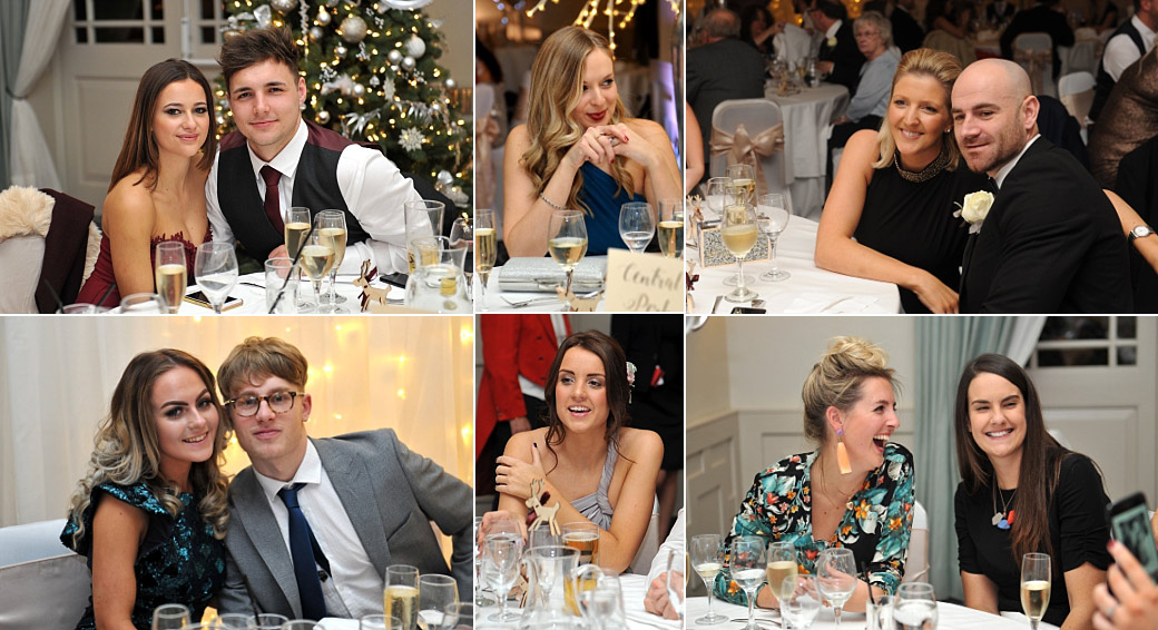 Pictures of various seated guests enjoying themselves during the wedding breakfast in the Evelyn Suite at Surrey venue Wotton House