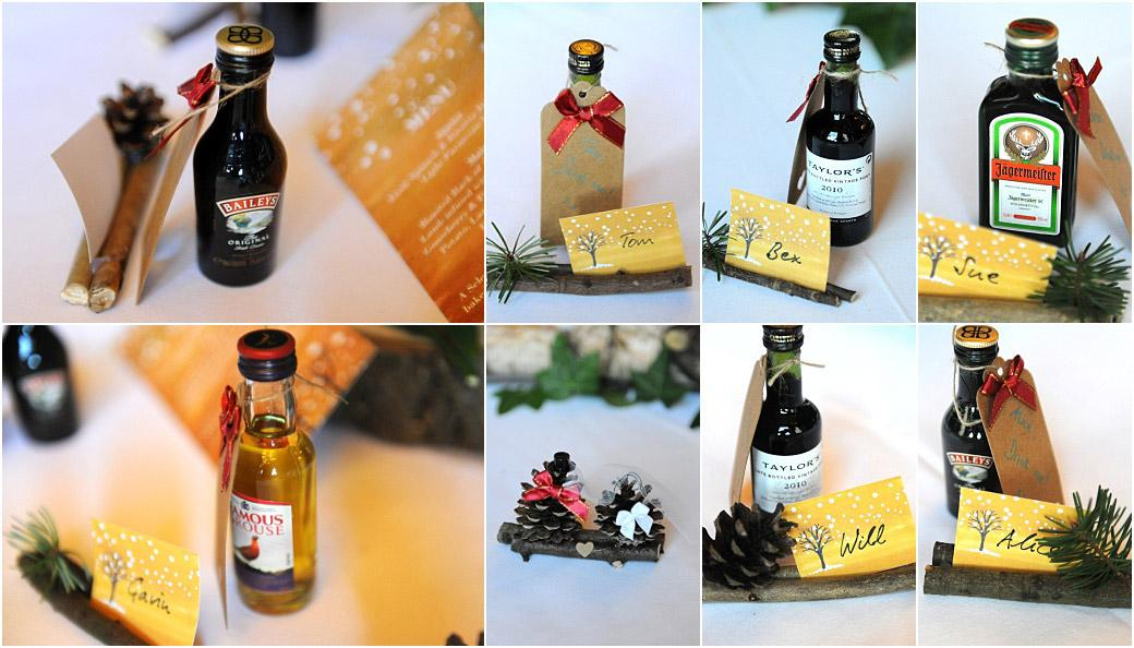 Wedding photos of personalised miniature bottle of spirits favours found on each table place for the wedding breakfast at Surrey wedding venue Addington Palace in The Great Hall