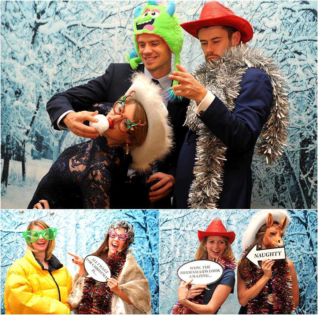 Smiles laughter silly hats and quotes captured in these wedding pictures from a Christmas ski chalet themed photo booth at Surrey wedding venue Addington Palace