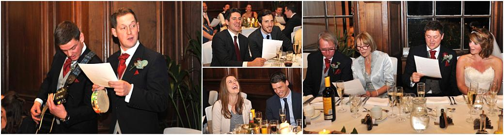Fun and laughter captured in the Great Hall at Addington Palace Surrey in these wedding pictures taken during the engaging and hilarious Best men's sing-a-long speech