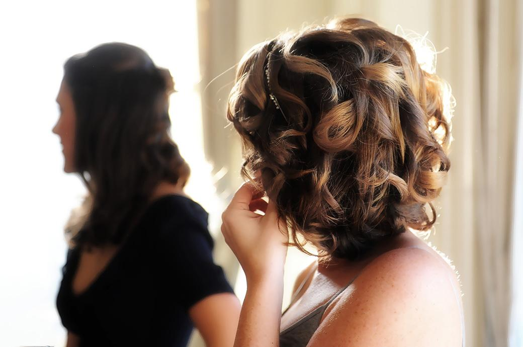 Wedding photograph of the Bride's beautiful hair captured on the morning of her wedding at Addington Palace in Croydon Surrey a grand wedding venue with an interesting past