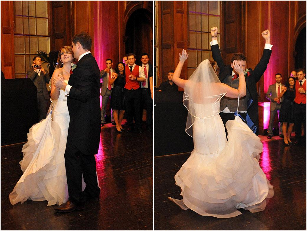 Bride and groom enjoying themselves doing their excellent first dance routine performed at Surrey venue Addington Palace on the dancefloor in the magnificent Great Hall