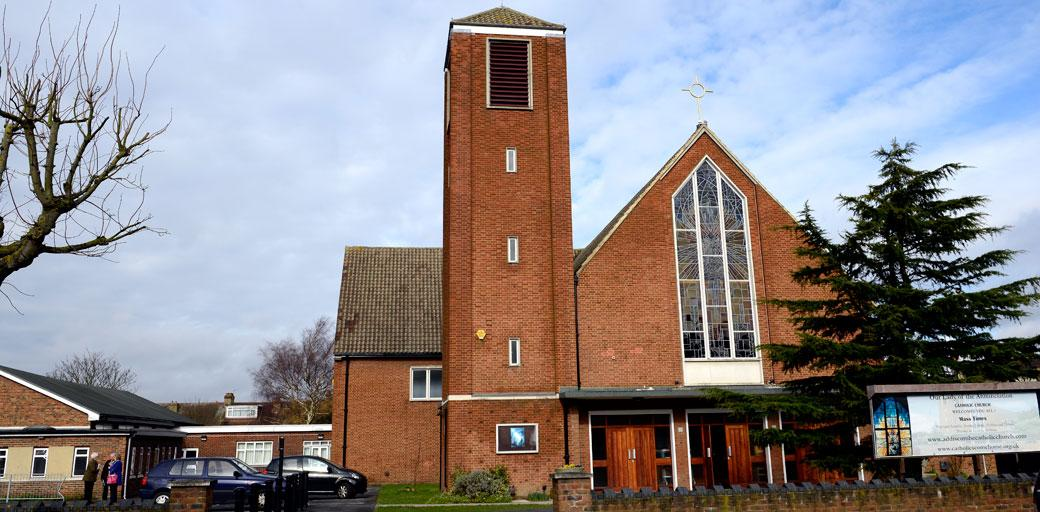 A photo of the modern red brick Addiscombe Catholic Church Our Lady of the Annunciation a Surrey wedding venue celebrating its golden anniversary in 2014
