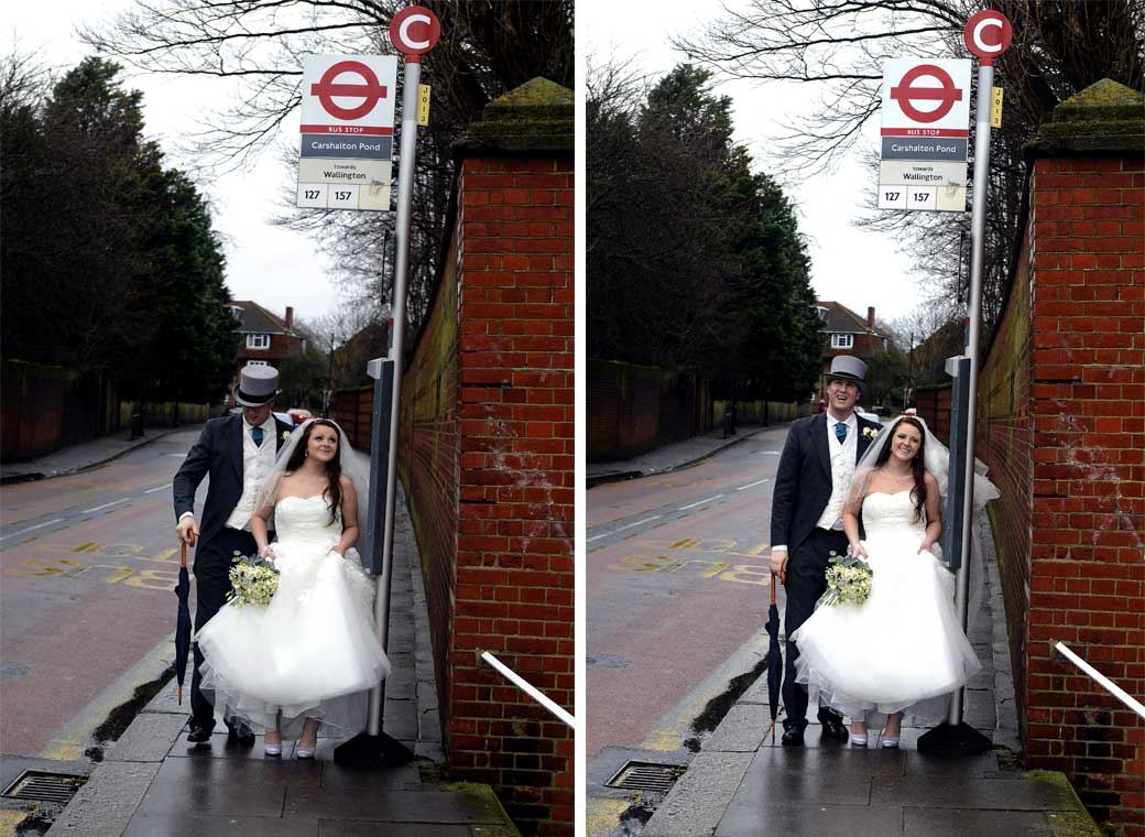 Fun Bride and Groom standing at the bus stop wedding photos taken before their Surrey wedding venue at All Saints Church in Carshalton