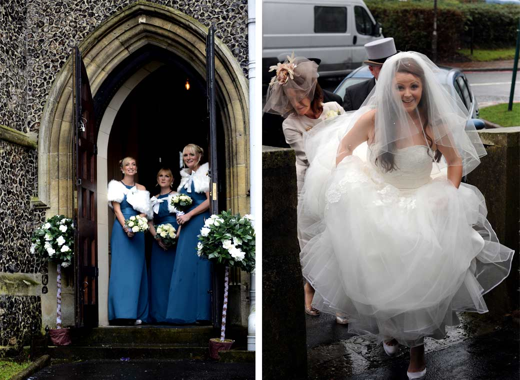 Two lovely wedding pictures of smiling Bridesmaids ready to greet a smiling Bride helped by a mother taken at Surrey Church All Saints Carshalton