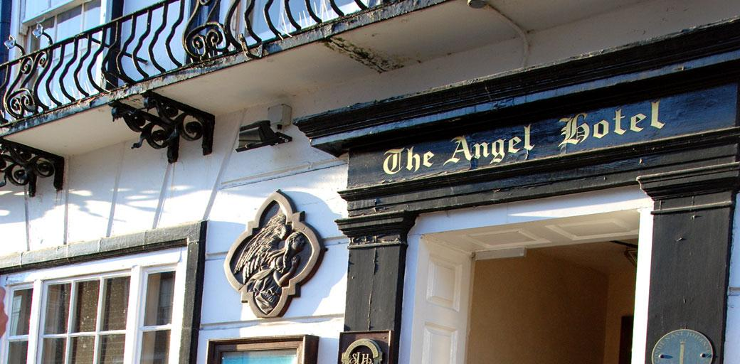 The front of the historically fascinating 16 century wooden framed coaching Inn and Surrey wedding venue The Angel Posting House or Angel Hotel
