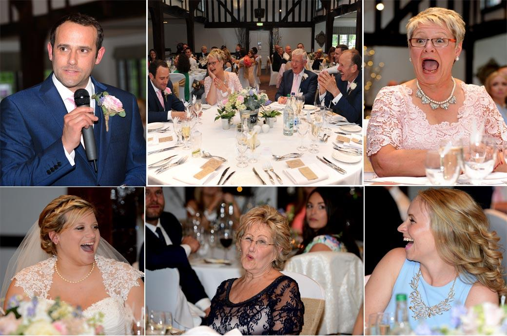 A compilation of funny wedding pictures captured in the Tithe Barn at Surrey wedding venue the Burford Bridge Hotel during the wedding speeches