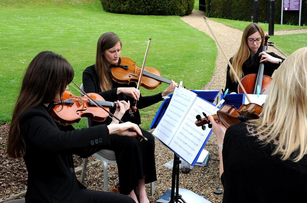 A lady string quartet captured in this wedding photograph out on the lawn at the Burford Bridge Hotel in Surrey providing some tranquil classical music for the wedding guests