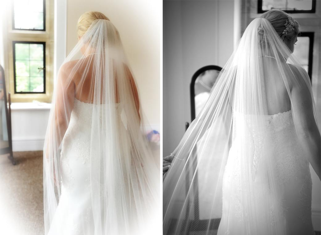 Pictures of the Bride from behind in her beautiful wedding dress with a long wispy veil captured on the first floor of Burrows Lea Country House Surrey before her chapel service