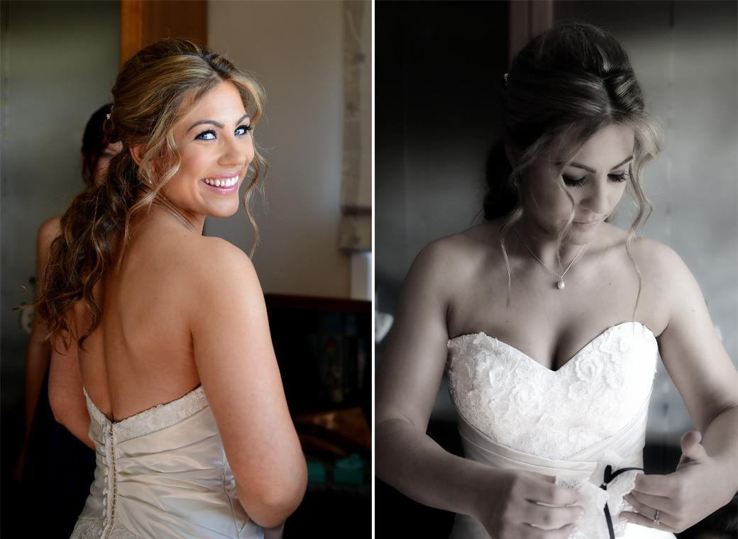 Two wedding photographs of the Bride looking beautiful in her stunning wedding dress making final preparations for her marriage at Cain Manor in Churt Surrey