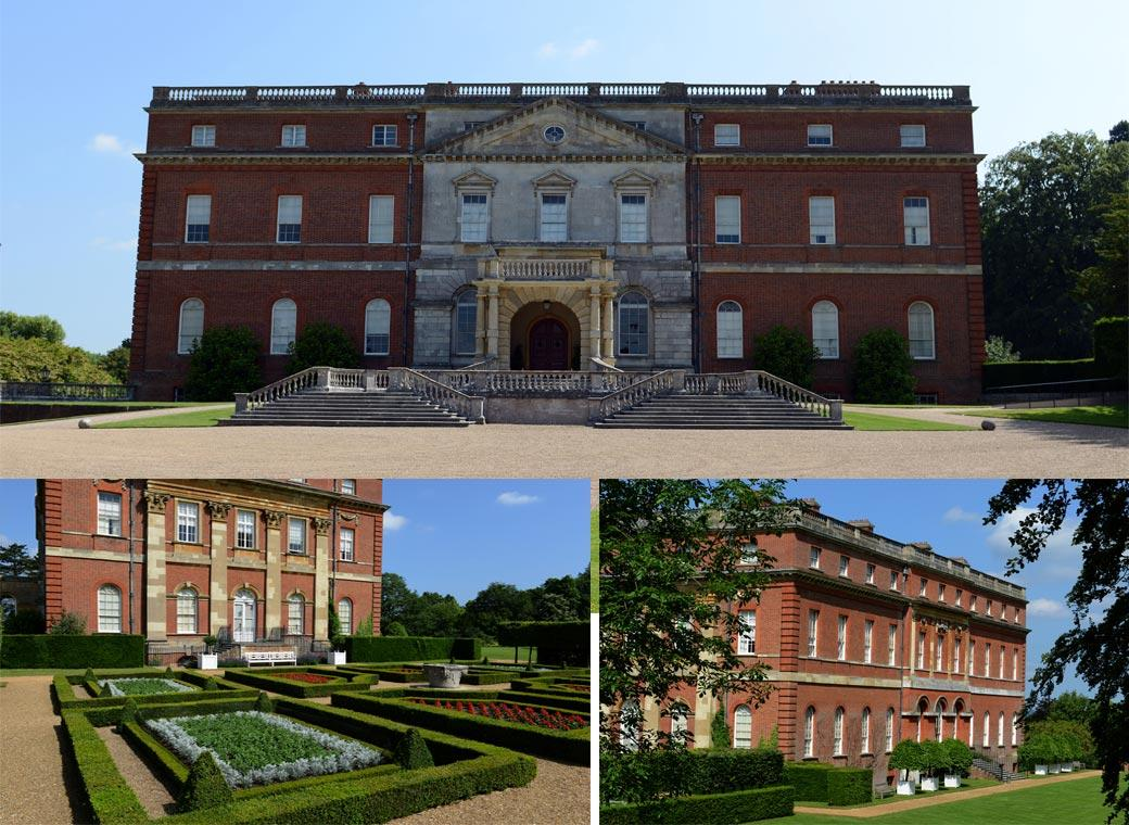 Wedding pictures showing the front, side and back of the magificent Palladian Clandon Park in Guildford by Surrey Lane wedding photographers