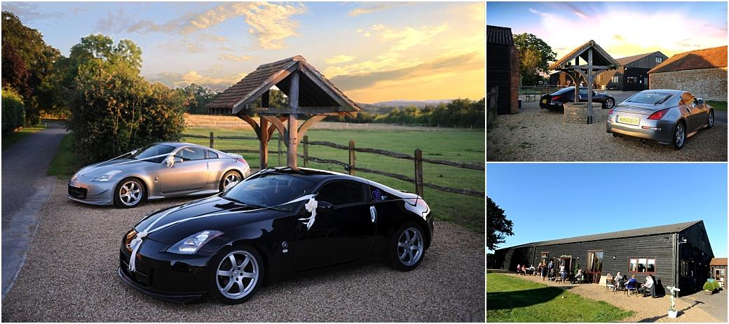 Wedding photographs of the Groom and Best man's pride and joy Nissan cars complete with white ribbons and the beautiful Clock Barn Hall Surrey country setting