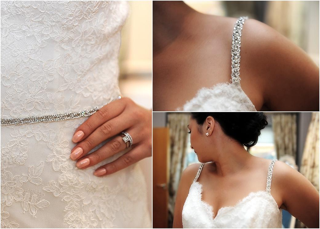 Close up pictures of the Bride's sparkling wedding ring , wedding dress straps and belt captured by a Surrey Lane wedding photographer at Clock Barn Hall Godalming