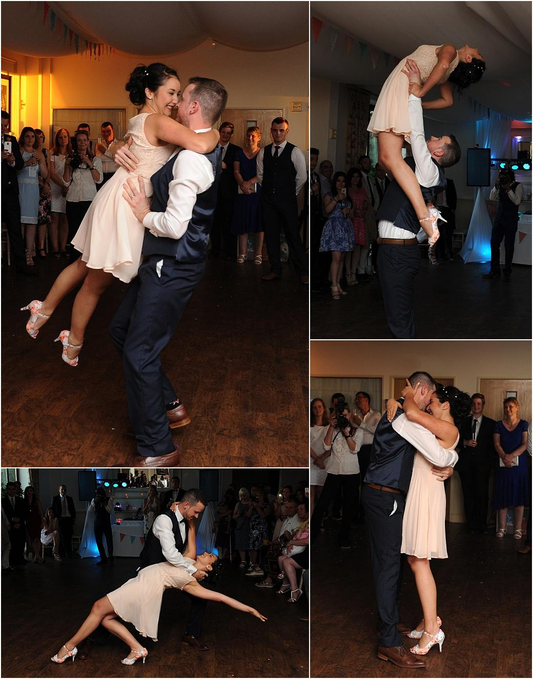 Bride and Groom captured in these wedding pictures at  Clock Barn Hall Godalming as they put on a spectacular floor show for their guests during their exciting first dance
