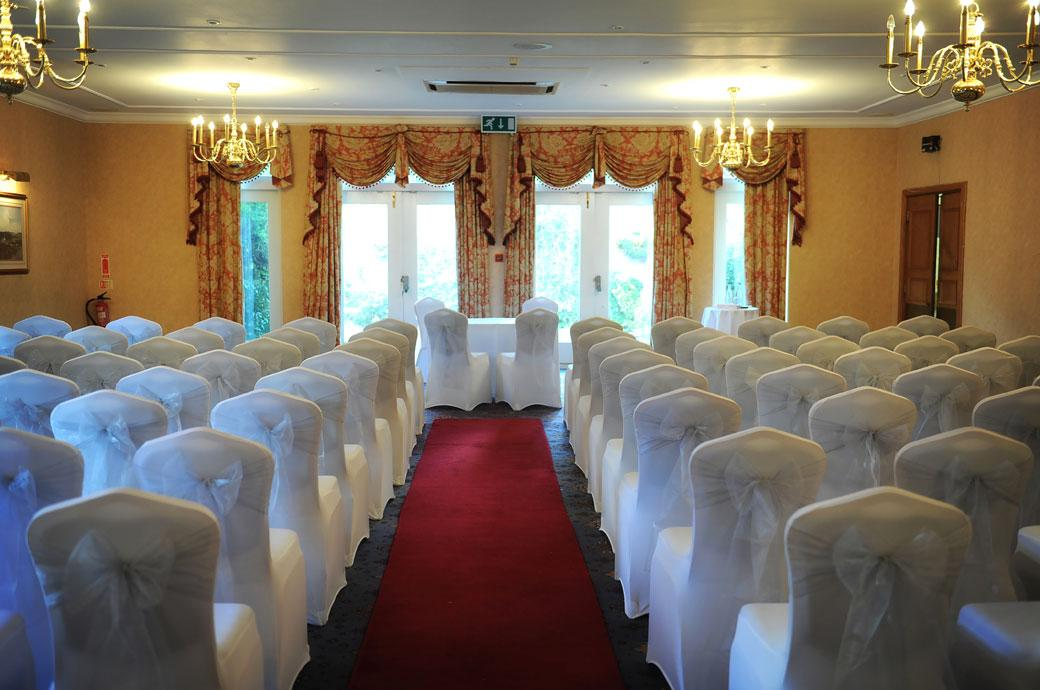 The Blenheim Suite dressed for a  wedding ceremony at Coulsdon Manor in Surrey captured in this wedding picture taken before the arrival of the guests