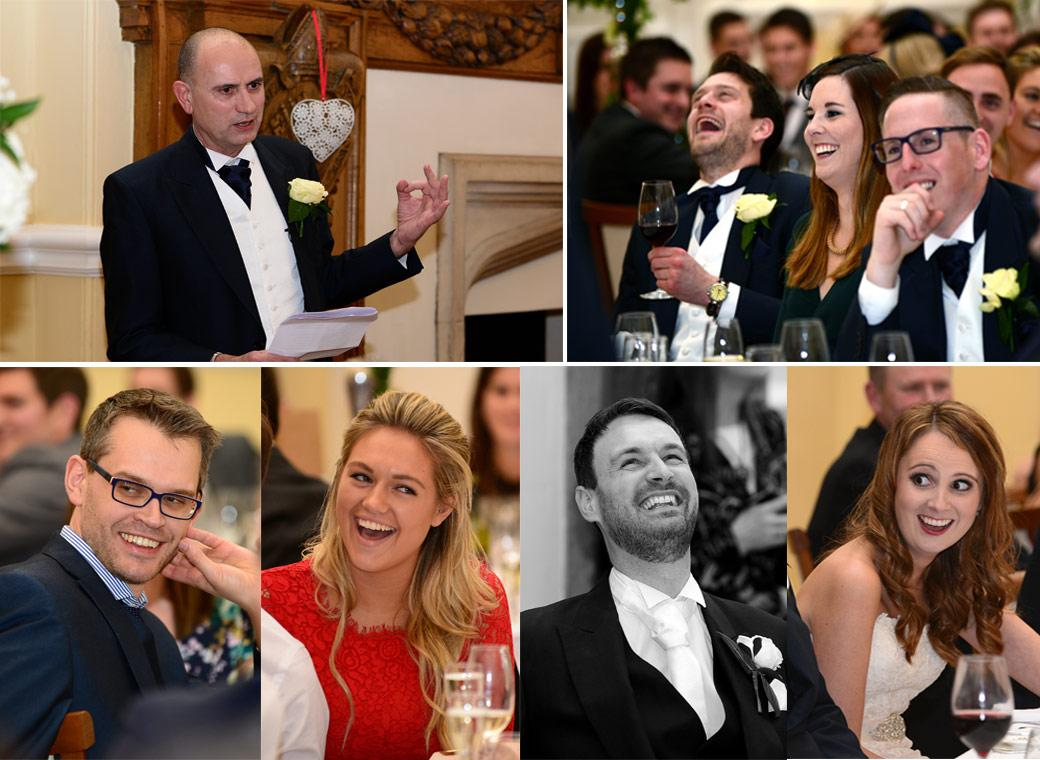 Father of the Bride entertains the guests in these fun wedding photos taken during the Wedding Breakfast speeches at Surrey venue Farnham Castle in The Great Hall