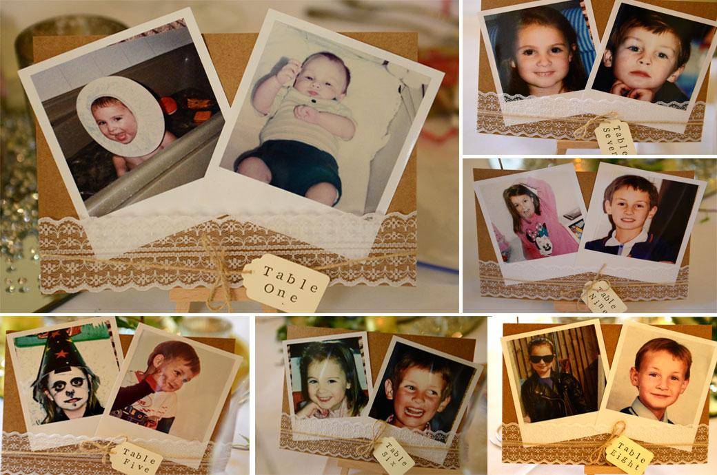 Fun table number photos of the Bride and Groom as children captured in a wedding photograph taken from the wedding Breakfast tables in The Great Hall at Farnham Castle Surrey