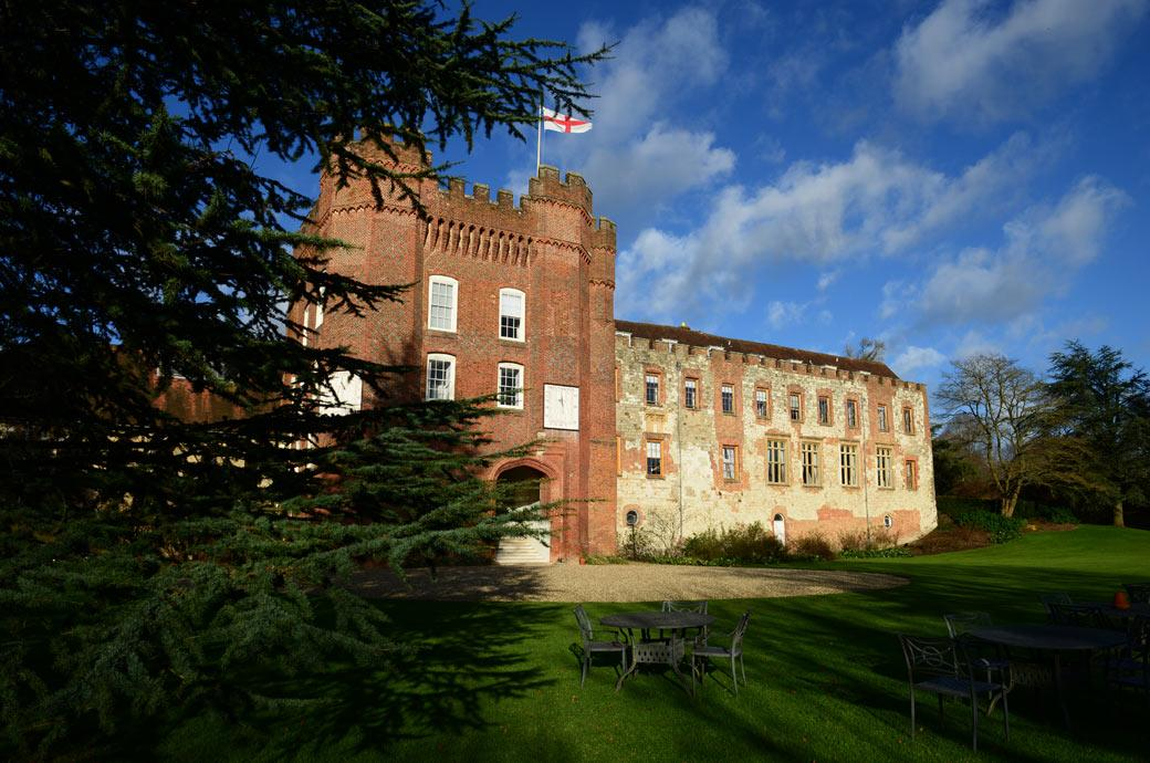 A lovely wedding picture of the ancient and historic Farnham Castle built in 1138 home to the Bishops of Winchester for over 800 years and now a stunning Surrey wedding venue