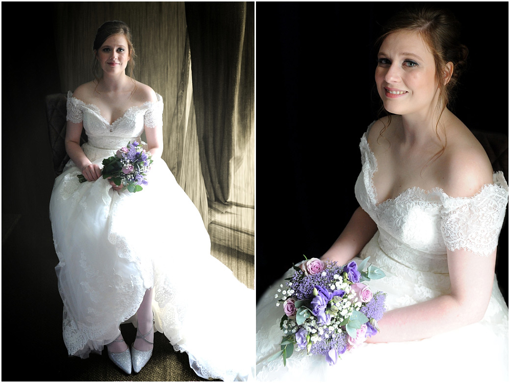 Lovely Bride at Surrey wedding venue Frensham Ponds Hotel Farnham waiting in her wedding dress and with bouquet ready for her marriage ceremony