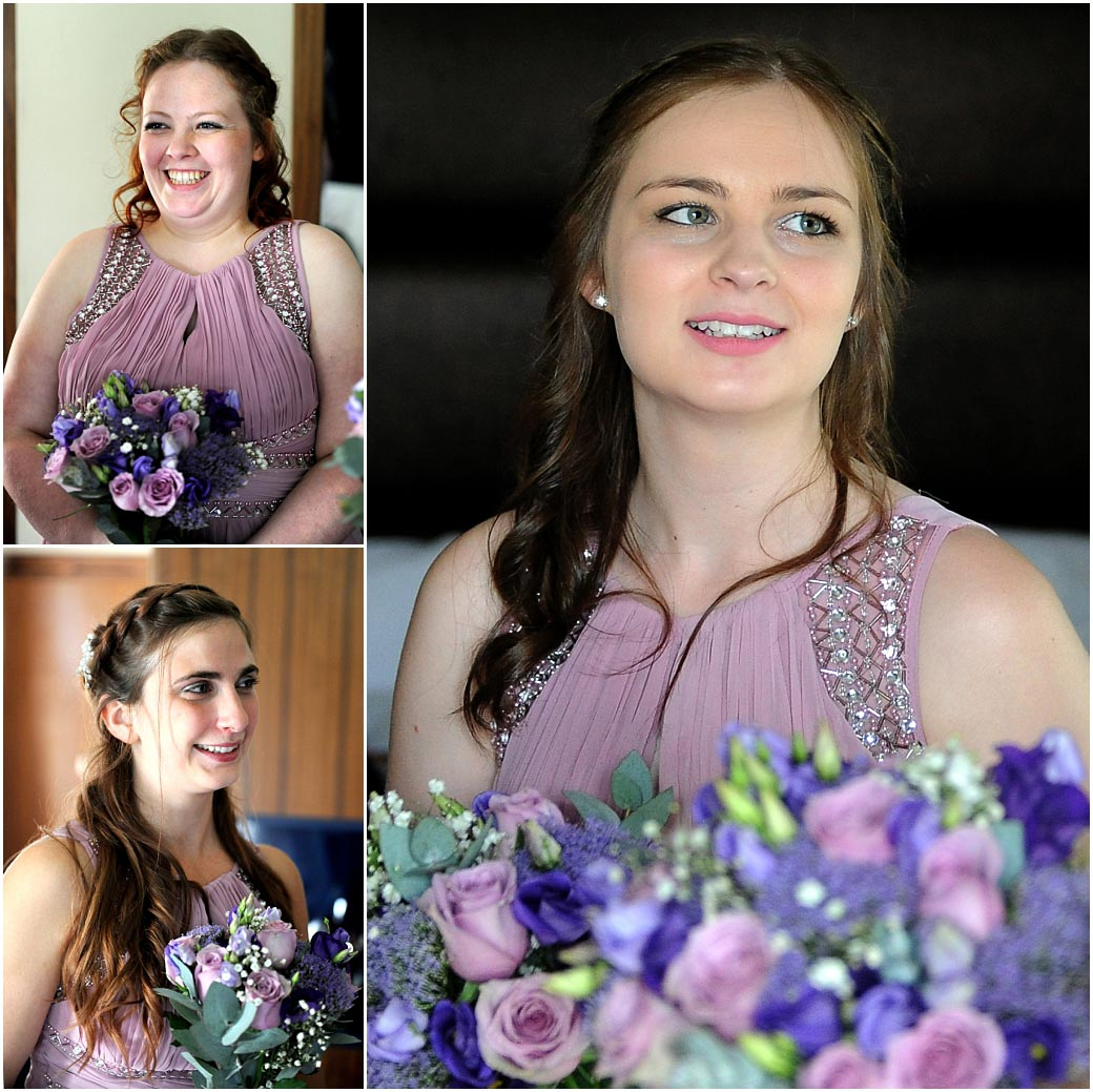 Happy smiling Bridesmaids dressed in pink at Surrey wedding venue Frensham Ponds Hotel ready to escort their Bride to the marriage ceremony room
