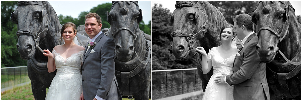 A couple of fun pictures of a Bride and groom at Frensham Ponds Hotel Farnham Surrey posing with two impressive working horse statues