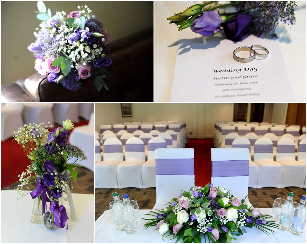 The marriage ceremony room dressed and awaiting guests plus flower bouquets and wedding rings captured at Surrey event venue Frensham Ponds Hotel Farnham